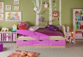 Детская кровать Дельфин 80 на 180, сиреневая