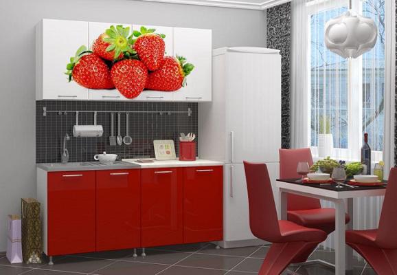 Кухня ЛДСП с фотопечатью Клубника 1,6 м