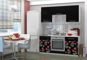 Кухня с фотопечатью Маки 1,6-2 м