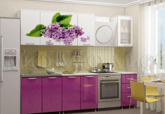 Кухня Сирень МДФ 2000 с фотопечатью