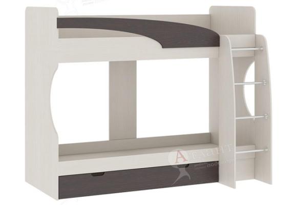 Кровать двухъярусная Карамель 77-02, сосна / венге