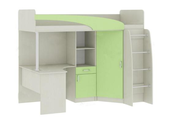 Кровать-чердак Карамель 77-01, сосна / зеленый